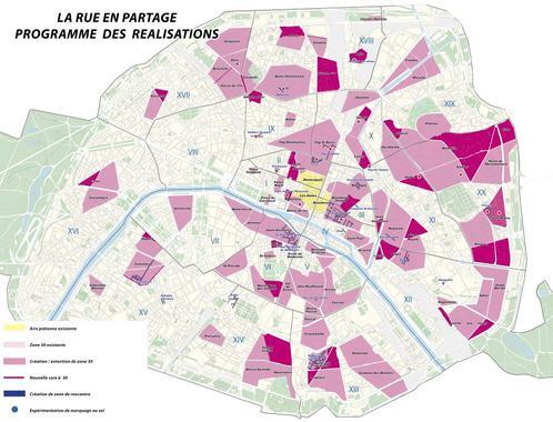 Plan des zones 30 à Paris