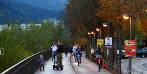 Mobilité douce le long de l'Inn à Innsbruck