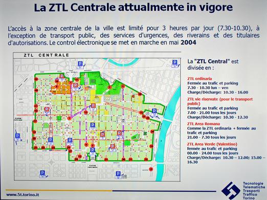 Plan de la ZTL de Turin