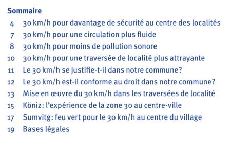 table des matières '30 km/h dans les traversées de localité'