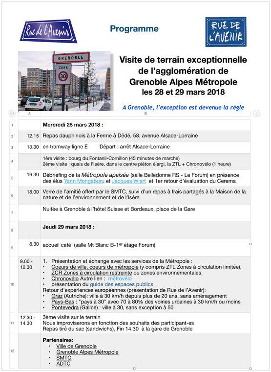 Programme visite de terrain à Grenoble Métropole