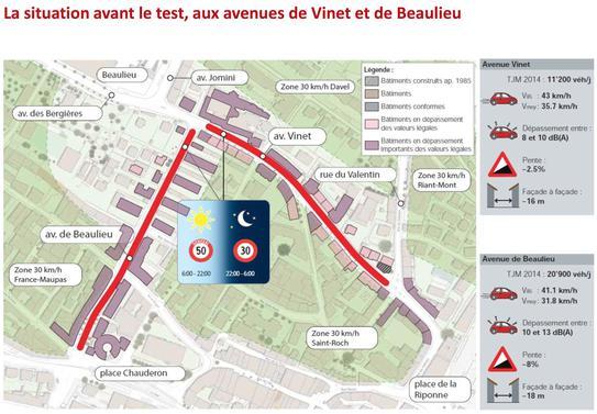 Bruit routier test d'un 30 km/h nocturne à Lausanne